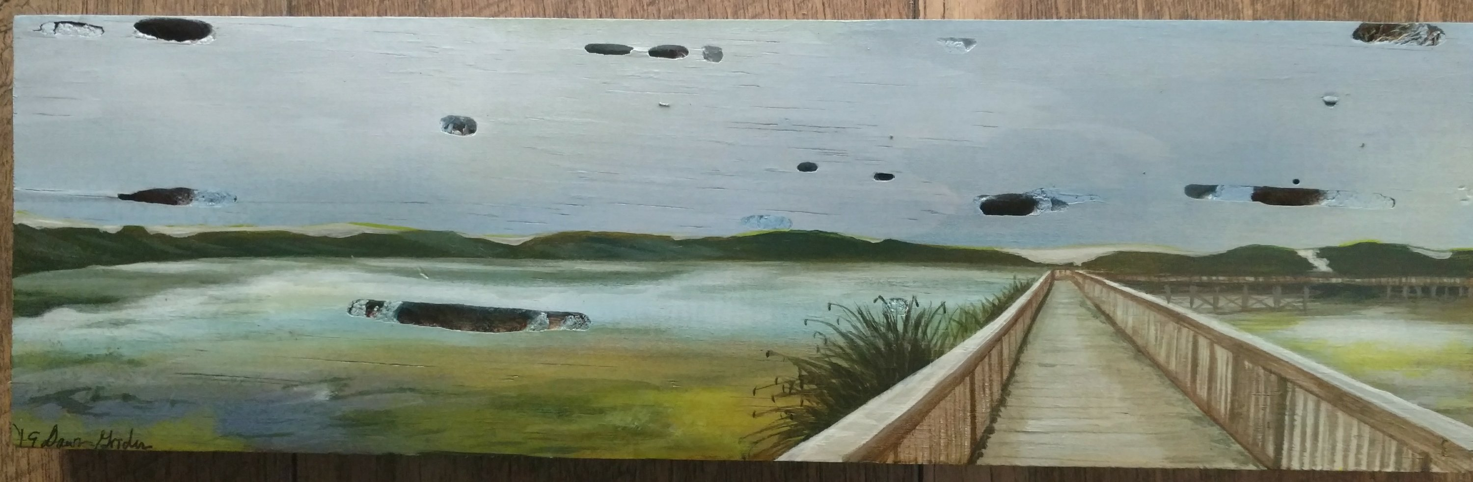 This painting is of a boardwalk located in Oslo Flacco park reserve.